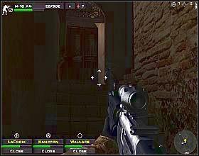 Podejdź do narożnika budynku z prawej, wychyl się i zacznij strzelać do wrogów rozstawionych wzdłuż ulicy - Misja 3 - Close Combat: First to Fight - poradnik do gry
