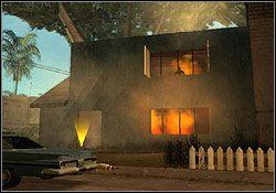 Złap okno w celownik, a następnie przytrzymując dłużej przycisk pada weź odpowiedni zamach ręki z płonącą butelką - Los Santos - Tenpenny (G) - Misje - Grand Theft Auto: San Andreas - poradnik do gry