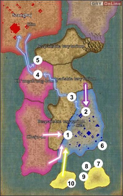 Kolorowe strzałki na mapie pokazują drogi ataków przeciwnika - ze wschodu (uważaj, aby przeciwnik nie ominął muru z dołu, pokazuje to zakrzywiona różowa strzałka) i z północy - [Korea] Misja 6 cz.1 - Empire Earth II - poradnik do gry