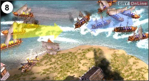 Obrazek (8) pokazuje jak flota przeciwnika atakuje twoją - [Korea] Misja 6 cz.3 - Empire Earth II - poradnik do gry