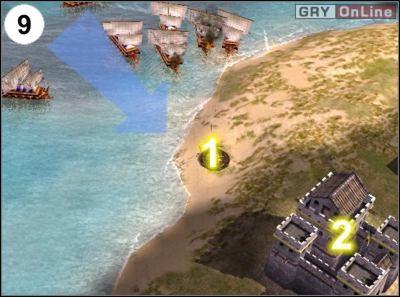 Zniszcz przystań po lewej, kolejną ognistą balistę w [1], a następnie popłyń na południe i zajmij się drugą fortecą w [2] - [Korea] Misja 6 cz.3 - Empire Earth II - poradnik do gry