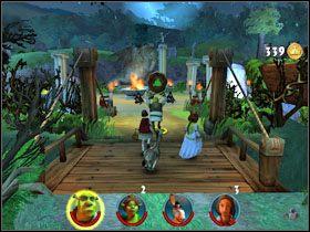 Pociągamy za wajchę, aby opuścić most przed nami - [Solucja] Etap 2 - Straszny Las cz.2 - Shrek 2: Team Action - poradnik do gry