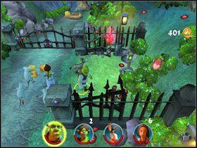 Rzucamy jabłkiem Czerwonego Kapturka w pobliski dzwon, aby otworzyć bramę, za którą kryją się szczury - [Solucja] Etap 2 - Straszny Las cz.2 - Shrek 2: Team Action - poradnik do gry