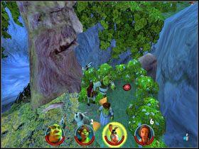 Idziemy dalej, likwidujemy pułapkę dzięki Czerwonemu Kapturkowi, po czym obalamy pobliskie drzewo za pomocą Osła - [Solucja] Etap 2 - Straszny Las cz.2 - Shrek 2: Team Action - poradnik do gry
