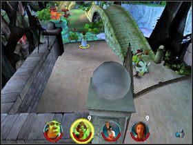 Za głazem obok karety znajdujemy fasolkę [6/12] - [Solucja] Etap 2 - Straszny Las cz.3 - Shrek 2: Team Action - poradnik do gry