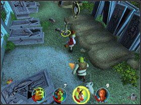 Idziemy dalej i rzucamy jabłkami Czerwonego Kapturka w pułapki, by je zlikwidować - [Solucja] Etap 2 - Straszny Las cz.3 - Shrek 2: Team Action - poradnik do gry