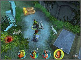 Walczymy z kilkoma szczurami i szybko obalamy za pomocą Osła dwie pokrywy grobowców, tworząc drogę dla trójki myszy - [Solucja] Etap 2 - Straszny Las cz.3 - Shrek 2: Team Action - poradnik do gry