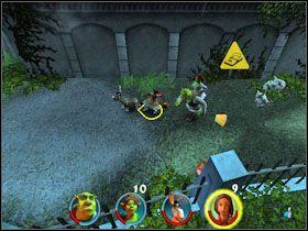 Idziemy dalej i rzucamy przez bramę we wrogie szczury - [Solucja] Etap 2 - Straszny Las cz.3 - Shrek 2: Team Action - poradnik do gry