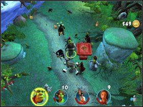 Obalamy Osłem leżące w pobliżu pokrywy, a następnie niszczymy pierwszy po lewej grobowiec - [Solucja] Etap 2 - Straszny Las cz.4 - Shrek 2: Team Action - poradnik do gry