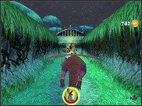 W kolejnej mini-gierce ścigamy pędzącą ku przepaści karetę z Fioną w środku - [Solucja] Etap 2 - Straszny Las cz.4 - Shrek 2: Team Action - poradnik do gry