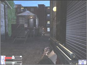 Omiń budynek, skręć w lewo, zabij grubasa w garniturze widocznego na lewym obrazku, potem najemnika widocznego na prawym obrazku - po prawej - [06] Broken Lanterns Street cz.1 - Hellforces - poradnik do gry