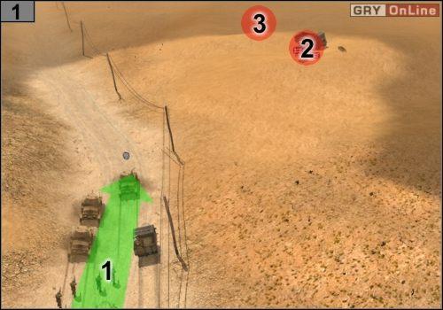 Jedź zgodnie ze strzałką [1], niech przed wojskiem idą dwa oddziały snajperów - Misja 5 - Sidi Rezegh (2) - Państwa Osi - Codename: Panzers - Faza Druga - poradnik do gry