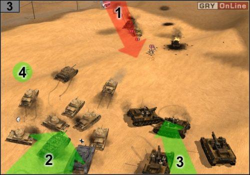 Czołgi przeciwnika będą nadjeżdżać z [1], lecz nie mają po prostu szans - Misja 5 - Sidi Rezegh (2) - Państwa Osi - Codename: Panzers - Faza Druga - poradnik do gry