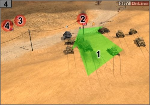 Jedź czołgami, jak pokazuje to strzałka [1], rozpraw się ze średnim czołgiem w [2], piechotą w [3] i małym czołgiem w [4] - Misja 5 - Sidi Rezegh (2) - Państwa Osi - Codename: Panzers - Faza Druga - poradnik do gry
