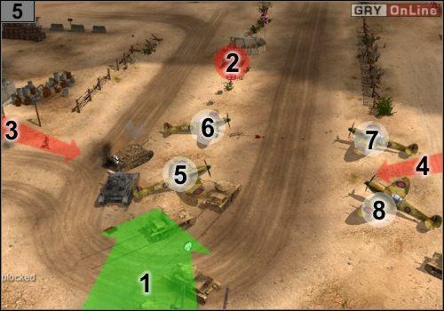 Wjedź na lotnisko zgodnie z tym, co pokazuje strzałka [1] - Misja 5 - Sidi Rezegh (3) - Państwa Osi - Codename: Panzers - Faza Druga - poradnik do gry