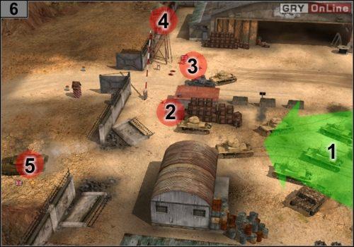 Gdy zabijesz czterech pilotów, jedź do #6 , jak pokazuje to strzałka [1] - Misja 5 - Sidi Rezegh (3) - Państwa Osi - Codename: Panzers - Faza Druga - poradnik do gry