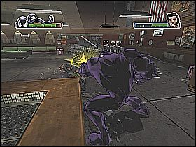 Po znokautowaniu Wolverine'a łap znajdujących się w okolicy bandytów w celu pożywienia się na nich (screen 1) - [Opis przejścia] Misja 2 - Wolverine cz.2 - Ultimate Spider-Man - poradnik do gry