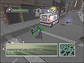 Po chwili załączy się kolejna scenka (screen 1) - [Opis przejścia] Misja 3 - R.H.I.N.O. cz.1 - Ultimate Spider-Man - poradnik do gry
