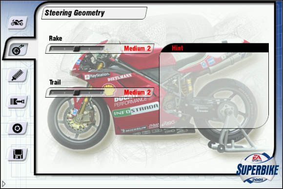 W pierwszej zakładce masz okazję zmodyfikować system sterowania swojego motocyklu - Geometria układu sterującego - Trening - Superbike 2001 - poradnik do gry