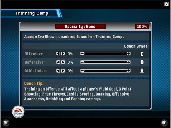 Mamy tutaj do wyboru elementy, które chcemy trenować podczas tego obozu - Dynasty Mode - Pre-Season - Game Modes - NBA Live 06 - poradnik do gry
