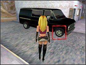 Biegniesz teraz do czarnego vana [obrazek 1] i używasz noża by przebić jego przednią, prawą oponę [obrazek 2] - Highway - Solucja - Lula 3D - poradnik do gry