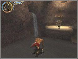 Pobiegnij ostrożnie skalnym tunelem, obserwując dwóch Łuczników, wartujących w oddali - [11] The Tunnels (tunele) - Prince of Persia: Dwa Trony - poradnik do gry