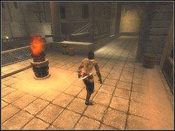 Podejdź do obrotowego mechanizmu z drążkiem i przełącz dźwignię - [12] The Fortress (twierdza) - Prince of Persia: Dwa Trony - poradnik do gry