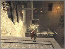 Opadnij na platformę poniżej, wyeksploruj ją i wróć do góry - [12] The Fortress (twierdza) - Prince of Persia: Dwa Trony - poradnik do gry
