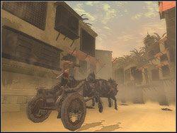 Kiedy nieprzyjacielski rydwan ci� dogoni, steruj (klawisze lewo/prawo) swoim wozem tak, by zepchn�� go na jak�� �cian� i samemu nie zosta� zepchni�tym - [12] The Fortress (twierdza) - Prince of Persia: Dwa Trony - poradnik do gry