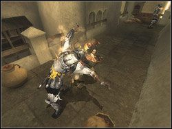 Opadnij na relief i wbij nań ostrze sztyletu, a następnie zeskocz na galerię poniżej - [13] The Lower City (dolne miasto) - Prince of Persia: Dwa Trony - poradnik do gry
