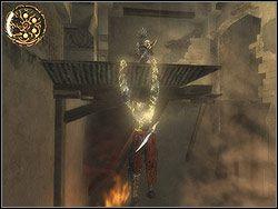 Wejd� na belk�, podskocz do g�ry chwytaj�c si� kraw�dzi platformy nad twoj� g�ow� - [13] The Lower City (dolne miasto) - Prince of Persia: Dwa Trony - poradnik do gry