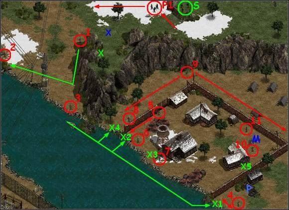 Poczekaj aż pierwszy Fryc (1) patrolujący przeciwny brzeg rzeki uda się w stronę bunkra (B) a wtedy szybko powiosłuj (Szpieg i Saper w pontonie - oprócz Nurka, afkoz) na tamten brzeg (przepływając rzekę w prawym dolnym rogu ekranu) - Misja 3