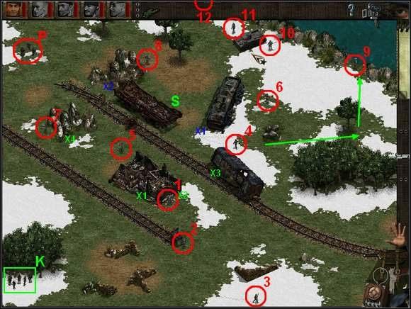Czołg jest już Twój - zapakuj do niego cały oddział, wybierz Kierowcę (5) i ruszaj na południowy wschód wzdłuż rzeki - Misja 4