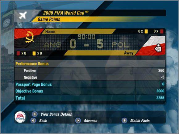 Za każde spotkanie na murawie dostajemy, a także tracimy punkty - Punkty za mecze - Tryb mistrzostw - Mistrzostwa Świata FIFA 2006 - poradnik do gry