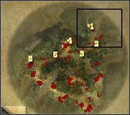 Oznaczenia na mapie: 1 - miejsce startu a tak�e do gromadzenia cia� - [Misja 3.2a] Big Canyon - Masquerade cz.1 - Desperados 2: Coopers Revenge - poradnik do gry