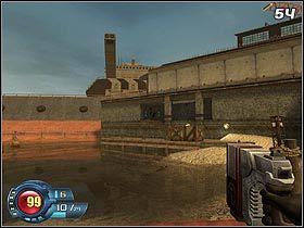 Zejdź na dół i ruszaj w kierunku budynku (#54), z którego przed chwilą wybiegli żołnierze wroga - Docks - Trainyard - Solucja - SiN Episodes: Emergence - poradnik do gry