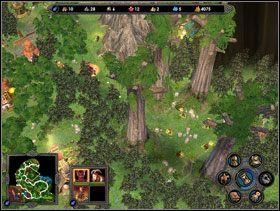 Gaj druid�w nale�y okr��y� z lewej strony i wedrze� si� od g�ry. - Misja 3 - Kampania 2 - Heroes of Might & Magic V - poradnik do gry