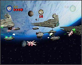 Tę samą operację powtórz z kolejną kamienną zaporą, a dolecisz do powierzchni wielkiej asteroidy - Episode V - Falcon Flight - Story Mode - LEGO Star Wars II: The Original Trilogy - poradnik do gry