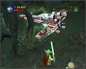 Używając Mocy powyciągaj kwiatki z ziemi, a z pozostałych klocków ułóż kołowrót - Episode V - Dagobah - Story Mode - LEGO Star Wars II: The Original Trilogy - poradnik do gry