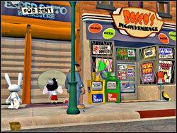 Po prawej stronie biura Sam i Max napotkali małego dzieciaka, który zawzięcie malował na ścianie jakieś graffiti przedstawiające wskazującego na swoje oczy dziwnego mężczyznę w fryzurze afro - Część II - Zapomniane telewizyjne gwiazdy - Sam & Max: Season 1 - Culture Shock - poradnik do gry