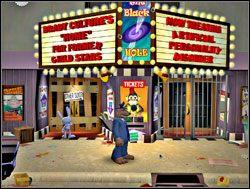 Wspomniana instytucja znajdowała się w budynku, którego architektura świadczyła o tym, że za dawnych czasów mieścił w sobie kino bądź teatr - Część III - Psychoterapia grupowa - Sam & Max: Season 1 - Culture Shock - poradnik do gry