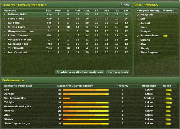 Tu mamy trzy główne sekcje - Trening cz. III - Zarządzanie drużyną - Football Manager 2007 - poradnik do gry