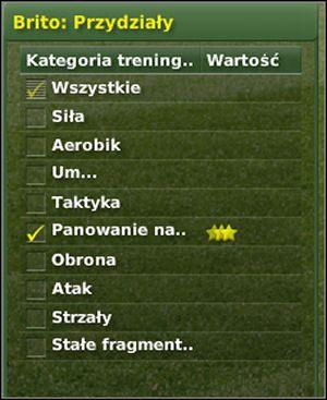 Przydziały/ Assingments: okno pokazujące listę elementów, których może uczyć dany trener - Trening cz. III - Zarządzanie drużyną - Football Manager 2007 - poradnik do gry