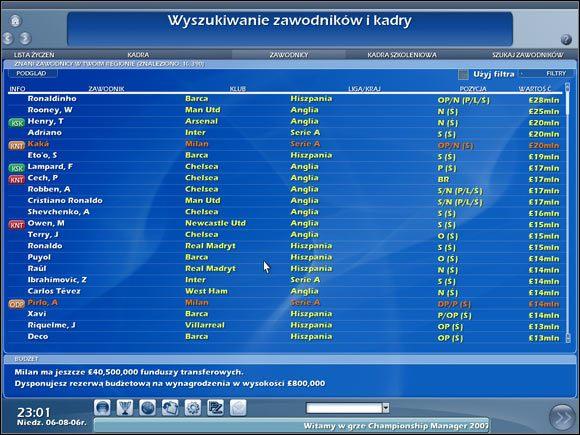 Wyszukiwanie zawodników i kadry. - Wyszukiwanie kadry - Transfery - Championship Manager 2007 - poradnik do gry