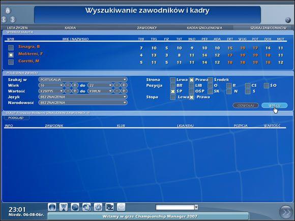 Wyszukiwanie zawodników i kadry. - Wyszukiwanie zawodników - Transfery - Championship Manager 2007 - poradnik do gry