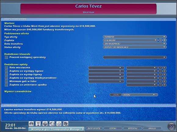 Składamy ofertę wybranemu zawodnikowi. - Negocjacje - Transfery - Championship Manager 2007 - poradnik do gry