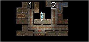 Na drugim poziomie znajdź drzwi (*) które zaprowadzą cię do pokoju, w którym Moire próbuje dobrać się do skóry Fihelisowi - Neverwinter (3) - Akt 1 - Neverwinter Nights 2 - poradnik do gry