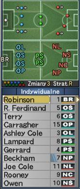Linia obronna jest ustawiona na A - Konwencje taktyczne - Pro Evolution Soccer 6 - poradnik do gry
