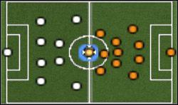Drużyna przeciwna jest ustawiona dość ofensywnie, z jednym napastnikiem wspomaganym przez dwóch skrzydłowych - Konwencje taktyczne - Pro Evolution Soccer 6 - poradnik do gry