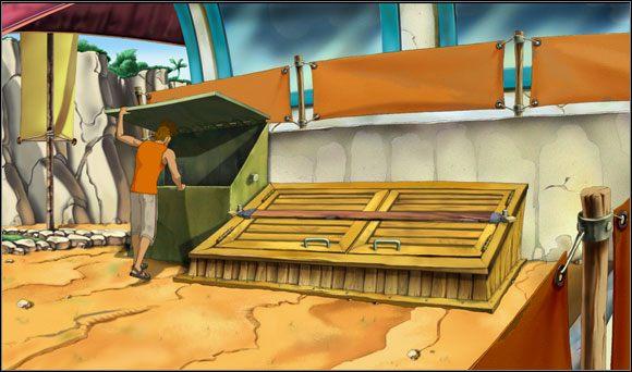 Po lewej stronie wejścia do głównego budynku natknął się na zablokowaną klapę prowadzącą do piwnicy - Surfując na Mala (2) - Rozdział II - Runaway 2: Sen Żółwia - poradnik do gry